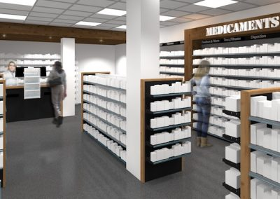 Solutions agencement pharmacie - personnalisation materiaux finition - Proexpace
